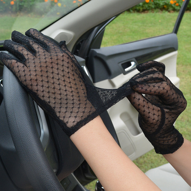 Sexy Lace Mesh Gloves Women Summer Black Anti UV Sunscreen Driving Gloves Lady Elegant Full Finger Glove Party Dance Mittens 3