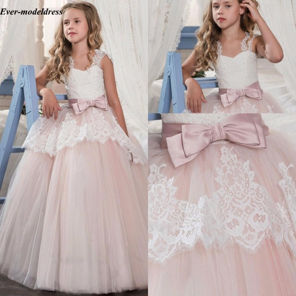Pink 2018   Flower     Girl     Dresses   For Wedding Lace Appliques Ball Gown Big Bow   Girls   Pageant Party Gowns First Communion Customized