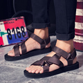 Fashion Sandals Men 2016 Vintage Rome Style Summer Beach Breathable Shoes Sandals Casual Solid Men Sandals 2 Colors Size 39-44