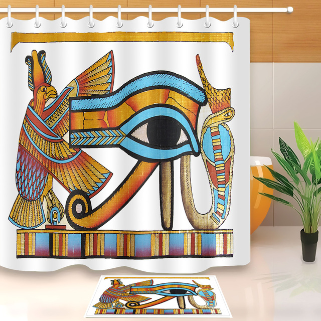 LB Extra Long Egyptian Papyrus Drawing White Shower Curtain Liner With Bath Mat Set Bathroom Waterproof