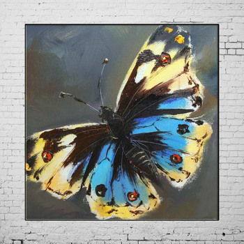 Hand Painted Butterfly Oil Painting Small Animal Beautiful Blue and Yellow Butterfly Oil Painting for Wall Decor Animal Painting фото