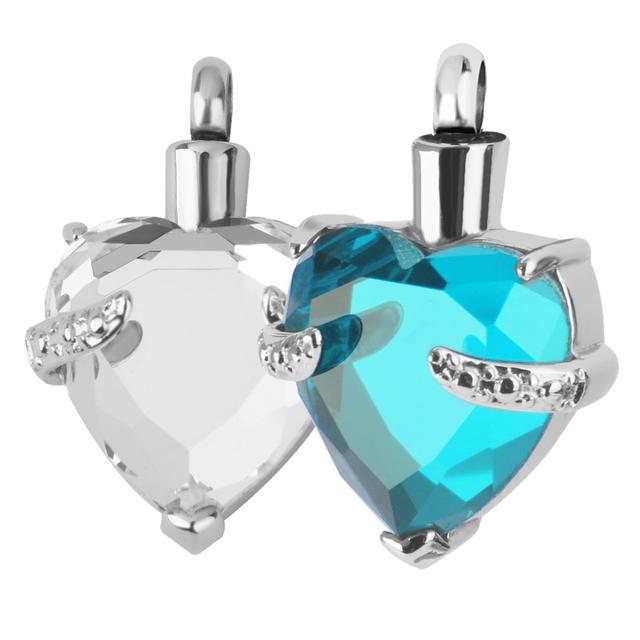 2 Pcs Crystal Strap Heart Memorial Pendant