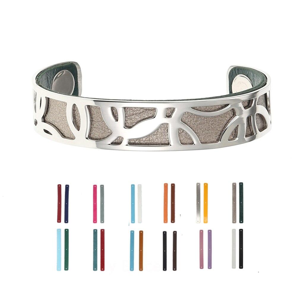 e33a155cd7a Legenstar Ajustável Aberto pulseira de Aço Inoxidável Pulseira De Couro  Intercambiáveis Cuff Bracelet Jóias Para Mulheres Dropshipping