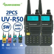 2pcs Quansheng UV R50 Walkie Talkie 5W 2800mAh Dual Band Portable Mobile Radio Hf Transceiver Ham Radio Station CB Baofeng Uv 5r