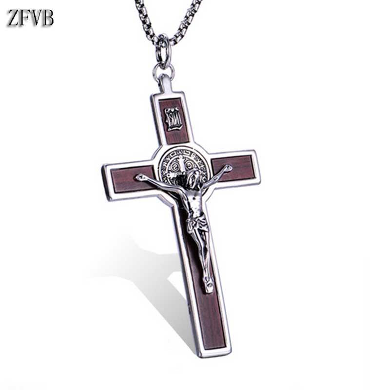 1e35f6222a41 ZFVB religiosa Jesús Cruz hombres collares 316L Acero inoxidable Vintage  CSPB catolicismo collar joyería Declaración