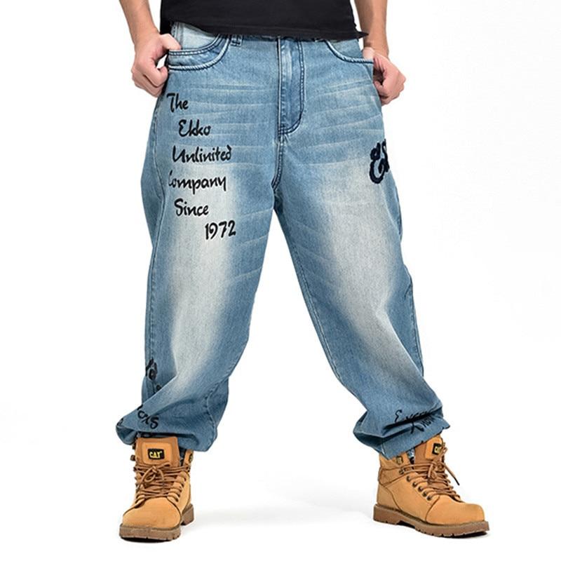 ABOORUN Plus Size Mens Hip Hop Baggy Jeans Classic Fashion Loose Fit Harem Denim Pants B1166