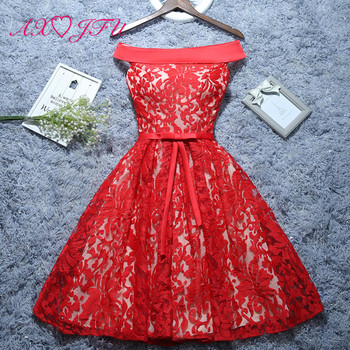 AXJFU red flower lace evening dress bride Lace princess red evening Gowns red rose evening dress