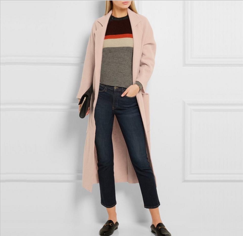 Vers Slim Mode 2018 Plus Avec vent Hiver Ceinture Coupe 2xl Bas Laine Rose Manteau Femmes Tournent Mélanges De Elegent Pink La Le Taille ww8OrEUqS
