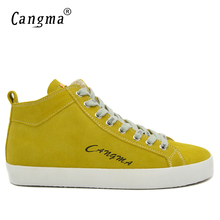 CANGMA Fashion Luxury Brand Mens Shoes Cow Suede Footwear Man Genuine Leather Autumn Male Mid Casual Shoes Yellow Lace Up Flats