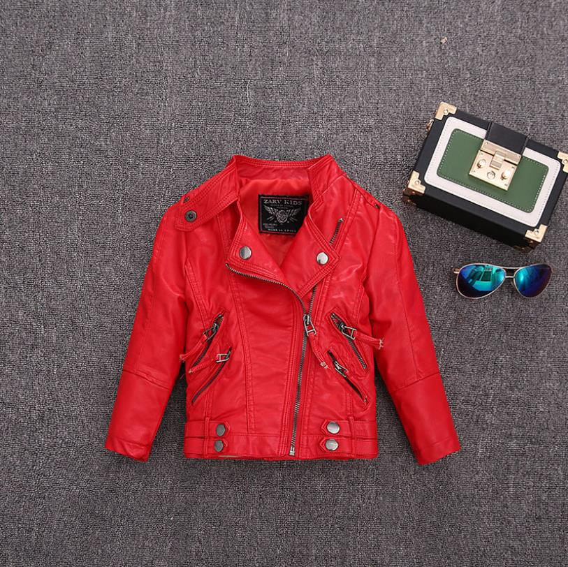 2-14Y HOT selling new Pu leather jackets for baby girl and boys loose good quality children coats kids spring sutumn tops ws410