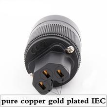 2 ピース × ハイファイオーディオ純銅金メッキ英国/EU/英国/AU のための IEC メスコネクタ DIY 電源ケーブル