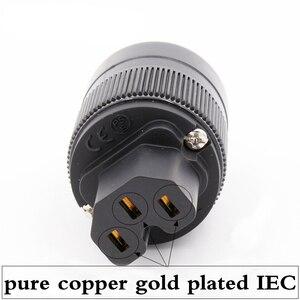 Image 1 - 2 ピース × ハイファイオーディオ純銅金メッキ英国/EU/英国/AU のための IEC メスコネクタ DIY 電源ケーブル