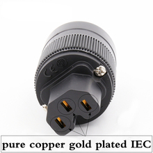 2 stks X Hifi audio zuiver koper vergulde UK/EU/UK/AU IEC vrouwelijke connector voor DIY power kabel
