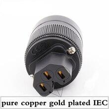 Pcs 2 X de Alta Fidelidade de áudio de cobre puro banhado a Ouro UK/EU/REINO UNIDO/AU IEC conector fêmea para cabo de alimentação DIY