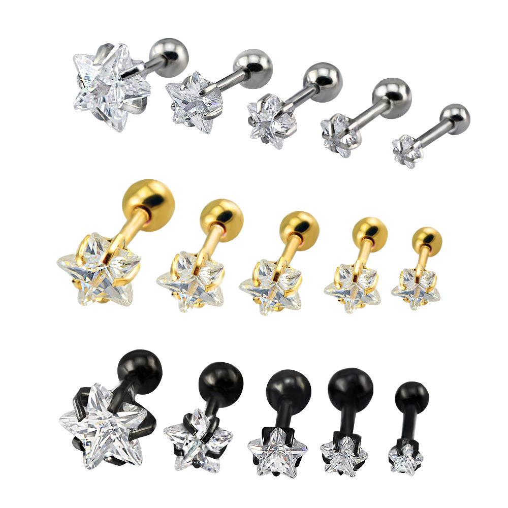 Star double earrings stainless steel earrings women small studs black charms cubic zirconia stud earrings for men jewellery