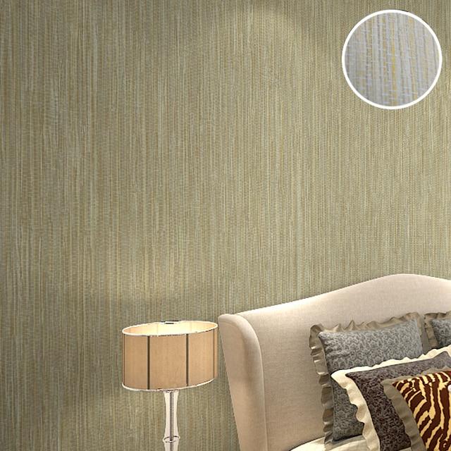 Schlafzimmer Hintergrund Design Natürliche Beige Grau Gras Tuch Tapete  Plain Einfarbig Geprägt Stroh Wand Papier Dekoration