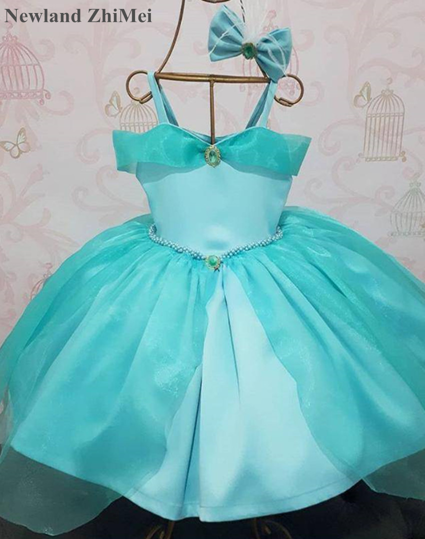 Newland ZhiMei Bluish Green   Flower     Girl     Dress   Hot Design Spaghetti Straps Ball Gown Child Party   Dress