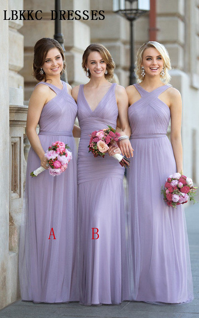 Long Chiffon   Bridesmaid     Dresses   Mermaid V Neck Robe Demoiselle D'honneur Sleeveless A Line Wedding Guest   Dress   Formal   Dresses