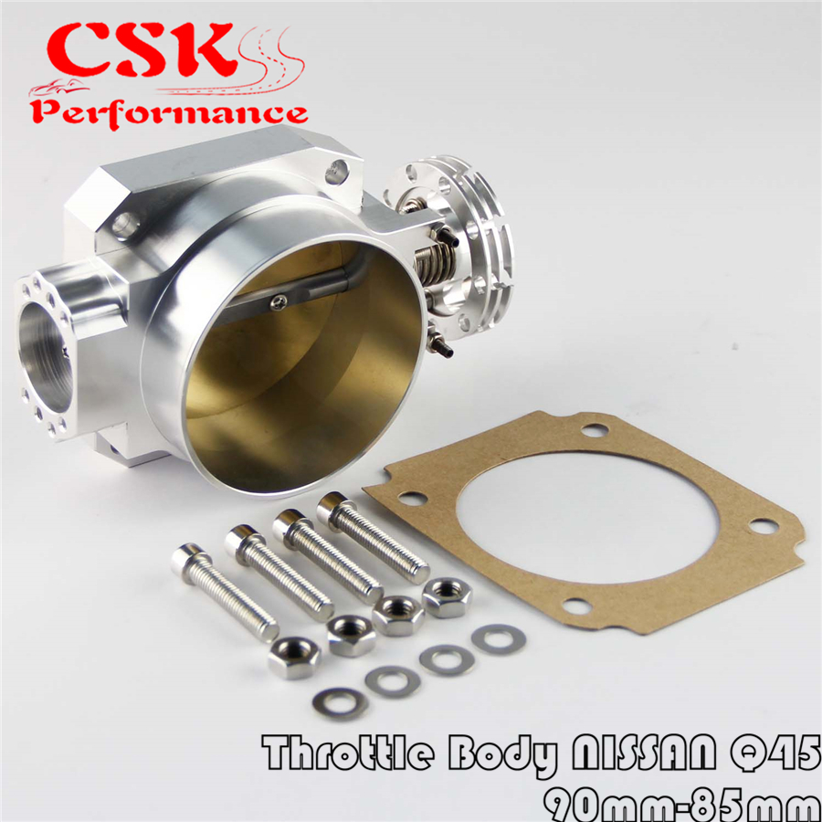 90MM-85mm Q45 Throttle Body <font><b>Intake</b></font> <font><b>Manifold</b></font> Fits For NISSAN <font><b>RB25DET</b></font> RB26DET RB20DT GTS SILVER image