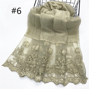 Image 3 - 1pc Solid color Two Sides Lace Women foulard hijab Shawl Muslim Scarf Nailed Pearl Plain Stitching Wrap Female Malaysia Hijab