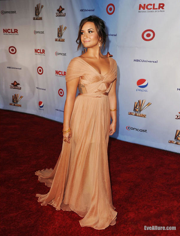 Demi Lovato 2015 ALMA Awards Champagne Formal Evening Gown Red ...
