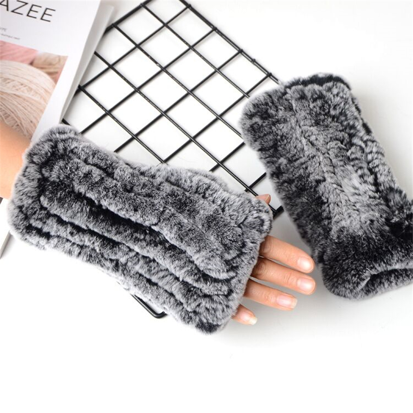 2018 Top Women's Real Rabbit Hair Half Fingers Glove Outerdoor Sweet Lady Thick Mittens Winter Warm Exposed Finger Gloves