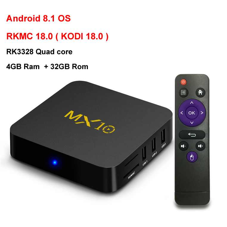 2018 New Arrival MX10 TV BOX Android 8.1 Rockchip RK3328 4G Ram 32G Rom 4K USB 3.0 HDR H265 Media Player Set-top BOX KODI 18.0