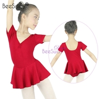 pink Leotard for girls child gymnastic leotards hot pink ballet dance dress V neck ballet costume
