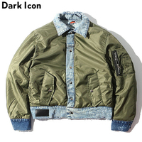 DARK ICON Durable Wear Patchwork Cotton Padded Men's Jacket 2019 Winter Thick Style Ripped Denim Coats Men Green Black