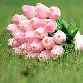 20 шт. Розовый Латекс Реального Прикосновения Тюльпаны букет Цветы Свадебные Свадебный Букет Дом украшен тюльпанов FW130