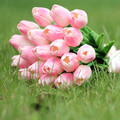 20 pcs Pink Latex Real Touch bouquet Tulips Flower Bridal Wedding Bouquet Home decorated Tulip flowers FW130
