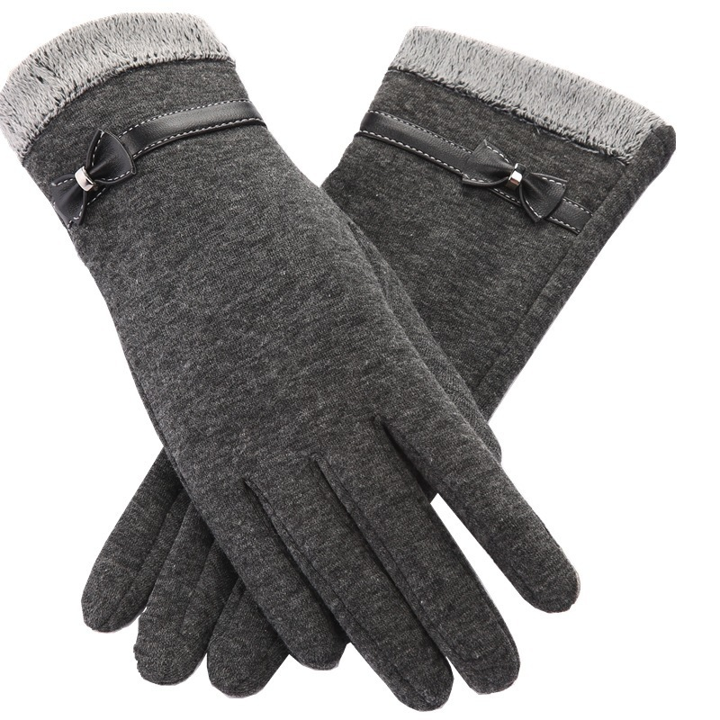 Fashion Women Gloves Spring Autumn Winter Cute Bow Warm Full Finger Mittens Female Cashmere Elegant Glove Phone Touching Screen