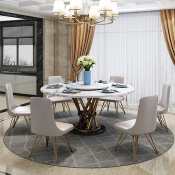 Stainless steel Dining Room Set Home round minimalist modern marble dining table and 6 chairs mesa de jantar muebles comedor jantar для волос