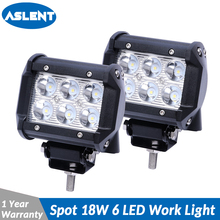 цена на ASLENT 2pcs 18W 4 Inch Offroad LED Light Bar Flood Spot Combo Beam 12V For Jeep ATV UAZ SUV 4WD 4x4 Truck Tractor LED Work Light
