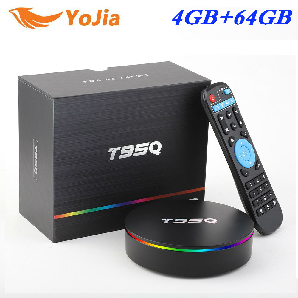 Amlogic S905X2 Android 8.1 TV BOX T95Q 4 K lecteur multimédia intelligent T95Q 4 GB RAM 64 GB DDR4 Quad Core 2.4G & 5 GHz Wifi PK X96 MAX TVBox