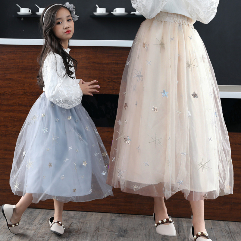 2018 New Girls Skirts Mesh Kids Tutu Skirts Sequined Princess Girls Party Ball Gown Skirt DQ825