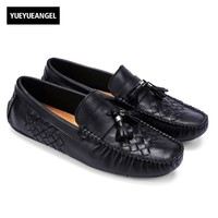 High Quality Brand 2017 New Fashion Mens Genuine Leather Slip On Male Casual Shoes Tassel Footwear