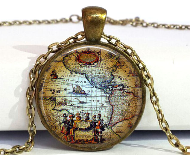 Free Shipping Antique Old World Map Circa 1500 Pendant Necklace