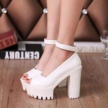Туфли на платформе высокие женские туфли-лодочки на каблуке 2017 Летние PU туфли с открытым носком