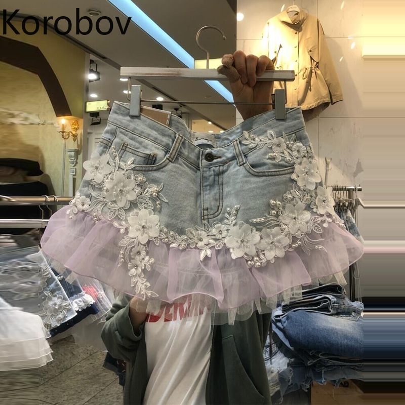Korobov Summer Korean Ruffles Mesh Patchwork Women Shorts 2019 New Flower Appliques Fashion Denim Shorts Feminina 77898