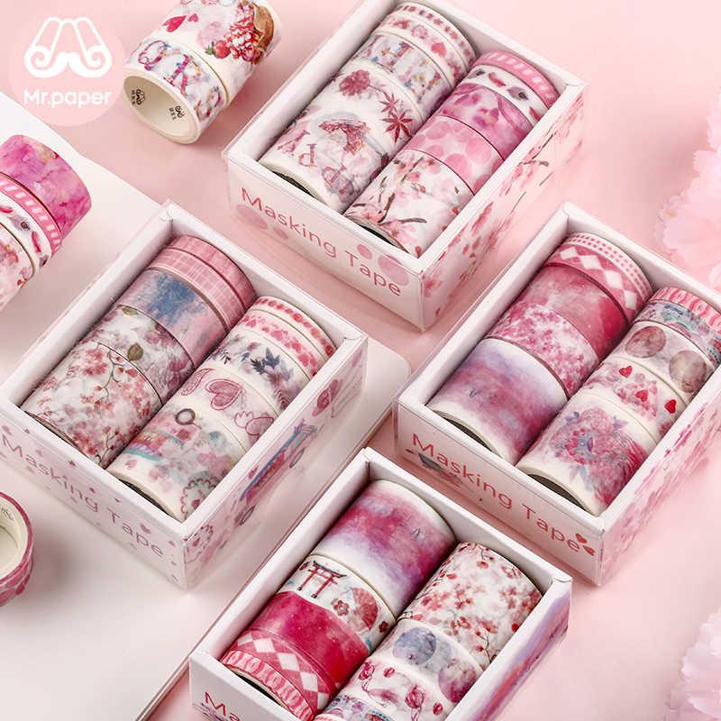Mr papel 24 diseños 10 unids/caja bonitos dibujos animados animales Washi cintas Scrapbooking DIY Deco creativo japonés Kawaii cinta adhesiva