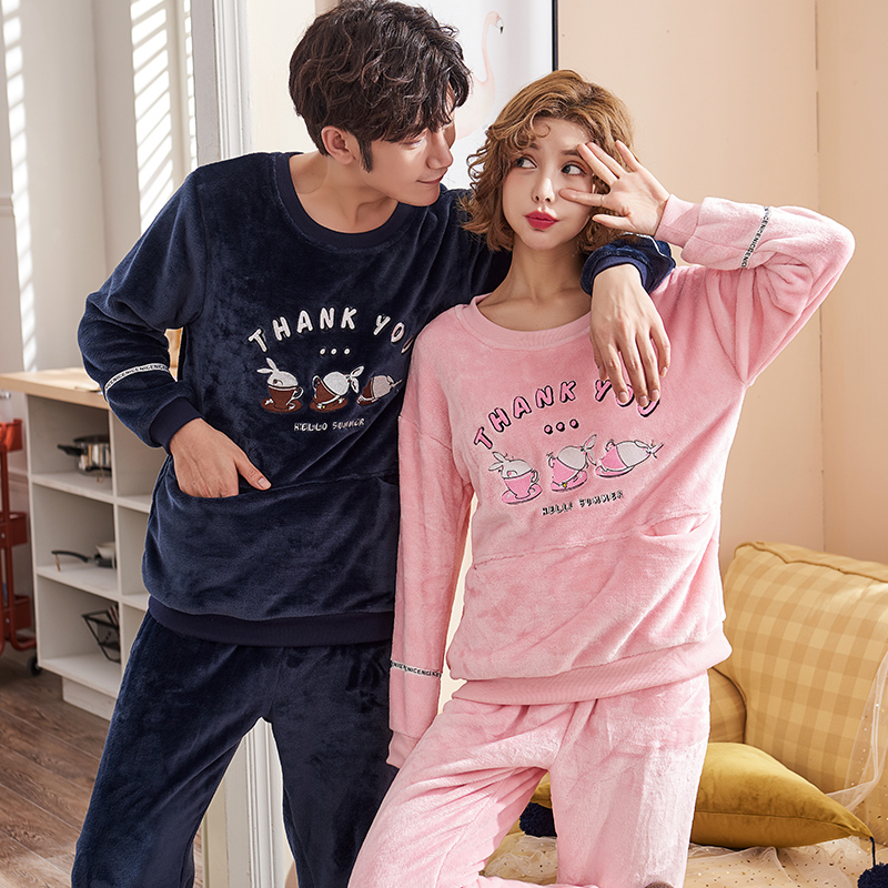 7496f4dec Detail Feedback Questions about Couple Flannel Pyjamas Female Thick Pajama  Sets Ladies Sleepwear Cartoon Pattern Long Sleeves Coral Fleece Pijamas  Hombre on ...