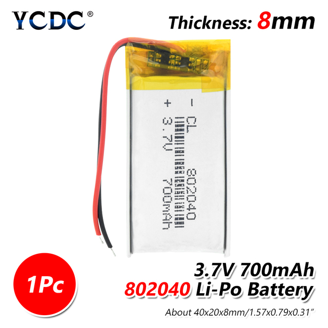 1/2/4 Pcs 2019 New 3.7V 802040 700mAh Lithium Polymer Battery For Voice Recorder MP3 MP4 LED Light GPS Radio Power Bank PDA Toy