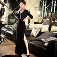 original brand new 2017 autumn maxi dress new slim sexy ladies vintage luxury elegant long split prom party dresses