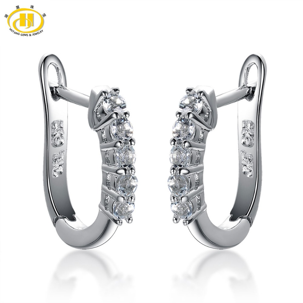 Aliexpress Hutang Fashion Earrings Natural Aquamarine Hoop Solid 925 Sterling Silver Gemstone Fine Jewelry Earring Women S Gift From