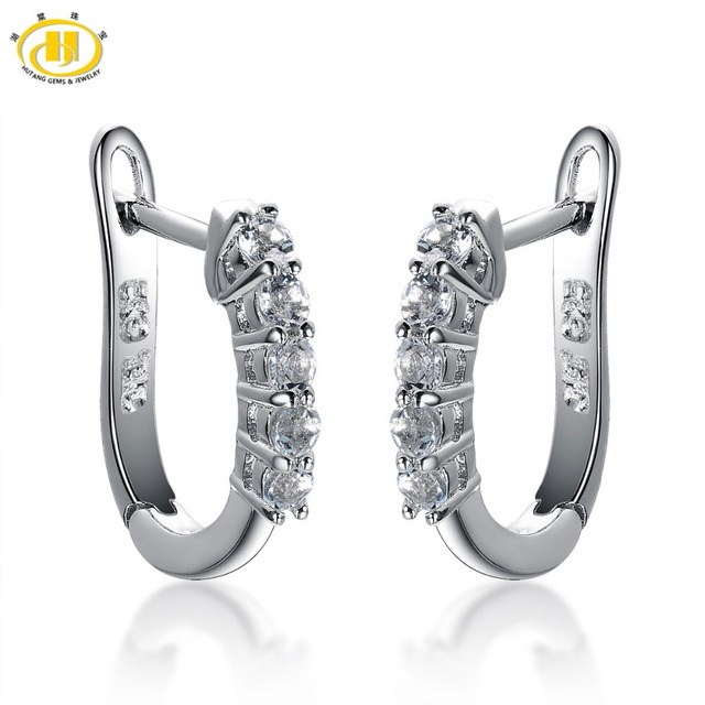 4002066b44447 US $61.67 |Aliexpress.com : Buy Hutang Fashion Earrings Natural Aquamarine  Hoop Earrings Solid 925 Sterling Silver Gemstone Fine Jewelry Earring ...