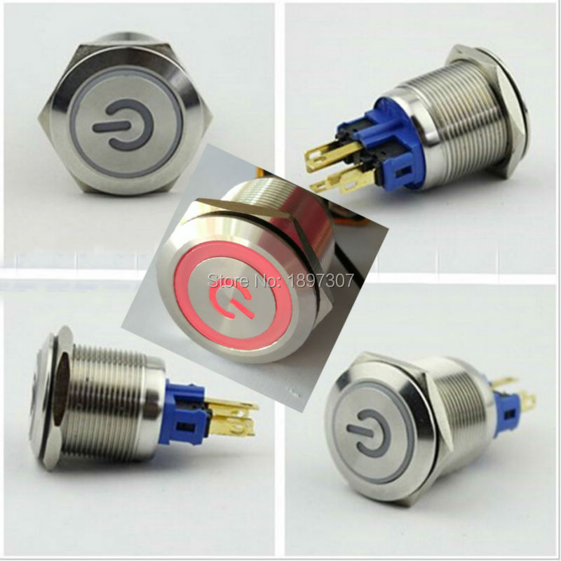22mm LED illuminated stainless steel Latching push button light switches power symbol head 1NO+1NC