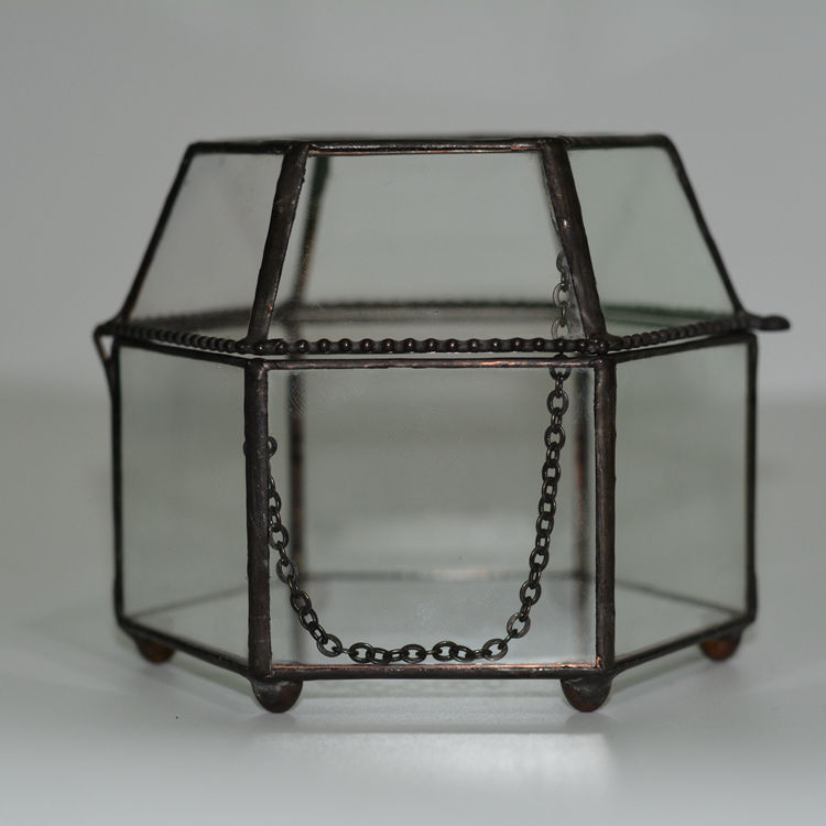 Hexagonal Glass Jewelry Box DIY Micro Landscape <font><b>Flower</b></font> Arrangement Home Crafts Ornaments Glass Containers