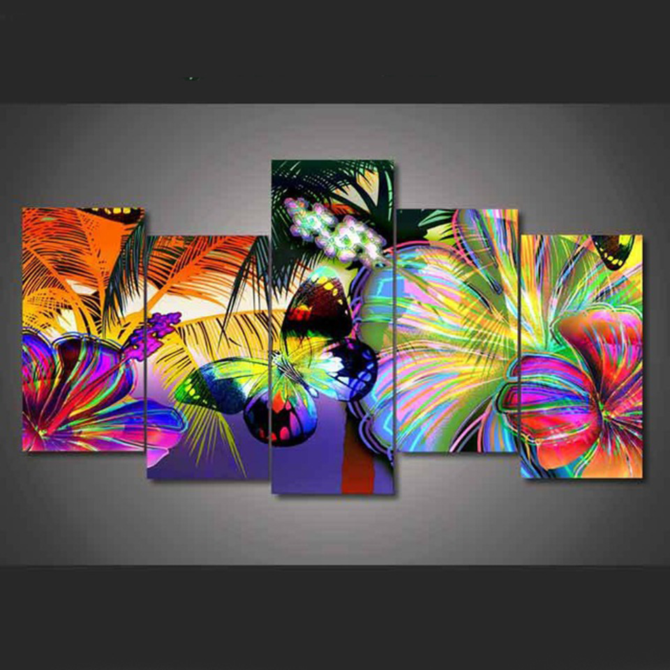Poster Modular Canvas Pictures Wall Art 5 Pieces Abstract ...