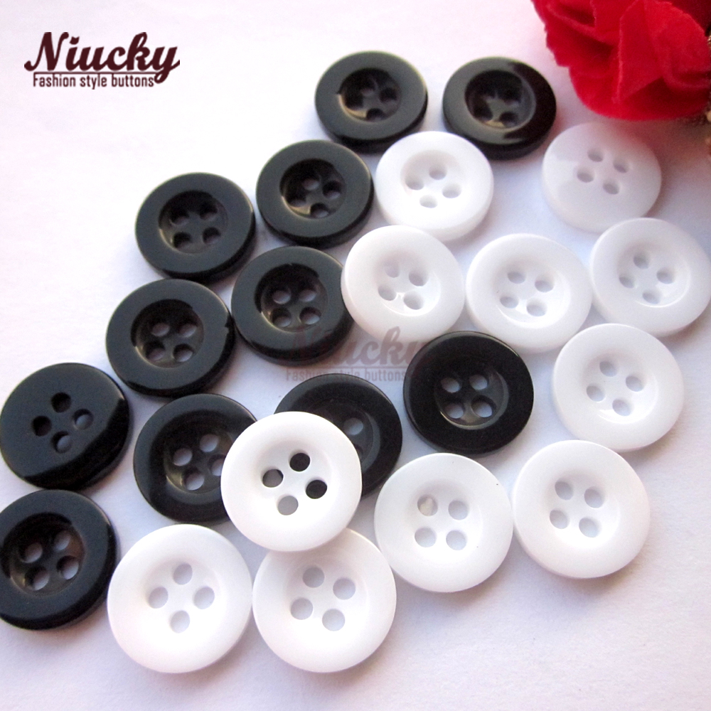 Niucky <font><b>10mm</b></font> - 12mm 4 holes high grade white / black resin shirt <font><b>buttons</b></font> for clothing Basic resin sewing accessories R0201-008wb image